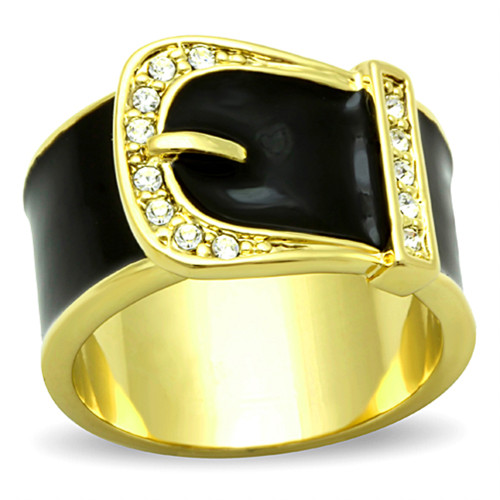 Gold Plated Stainless Steel Epoxy & Crystal Buckle Fashion Ring Women's Sz 5-10