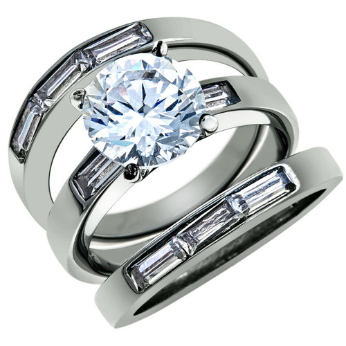 ARTK1436 Stainless Steel 4.35 Ct Cubic Zirconia Engagement Wedding Ring 3  PC Set Sz 5 10