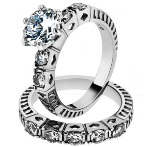 3.10 CT ROUND CUT ZIRCONIA STAINLESS STEEL 316L WEDDING RING BAND SET SZ 5-10