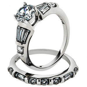 2.50 CT ROUND CUBIC ZIROCNIA STAINLESS STEEL ENGAGEMENT WEDDING RING SET SZ 5-10