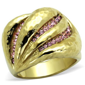 14k Gold Plated Stainless Steel Light Rose Crystal Cocktail Ring Women's Sz 5-10
