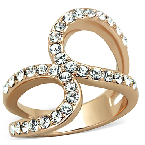 ROSE GOLD PLATED STAINLESS STEEL 1.02CT CRYSTAL FASHION RING WOMEN'S SIZE 5-1 0