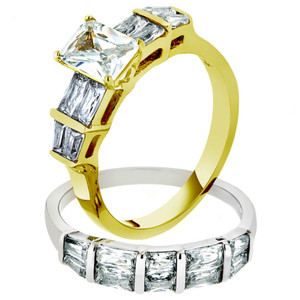 3.76 CT EMERALD CUT CZ TWO TONED IP WEDDING ENGAGEMENT RING SET WOMEN'S SZ 5-10