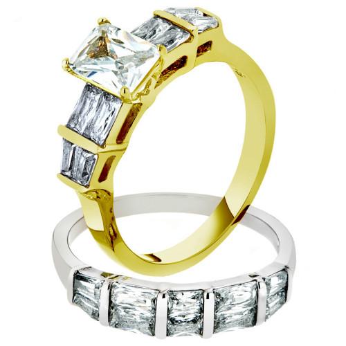 3.76 CT EMERALD CUT CZ TWO TONED IP WEDDING ENGAGEMENT RING SET WOMEN'S SZ 5-10