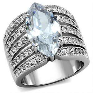 5.82CT MARQUISE CUT ZIRCONIA STAINLESS STEEL 316L  WIDE BAND ENGAGEMENT RING 5-10