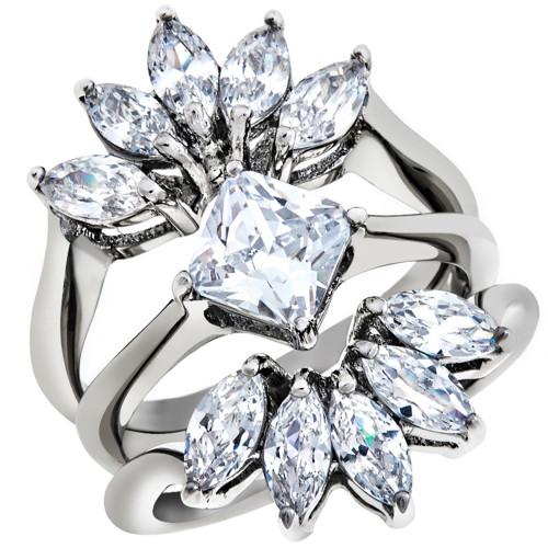 artk1756 stainless steel 374 ct zirconia 3 piece engagement wedding ring set size 5 10 - 3 Piece Wedding Rings