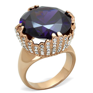 20.5CT AMETHYST ZIRCONIA ROSE GOLD PLATED STAINLESS STEEL COCKTAIL RING SZ 5-1 0