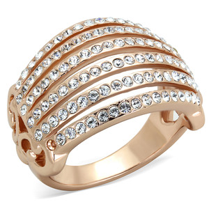 STAINLESS STEEL 316L ROSE GOLD PLATED CRYSTAL COCKTAIL / FASHION RING SIZE 5-1 0
