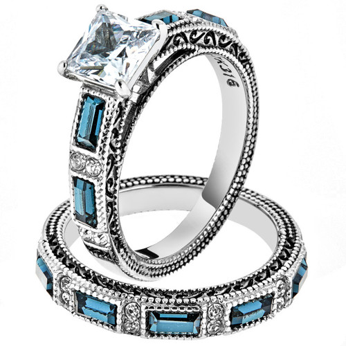 Antique Design CZ Multi-Stone 2pc Stainless Steel 316 Wedding Ring Set Size 5-10