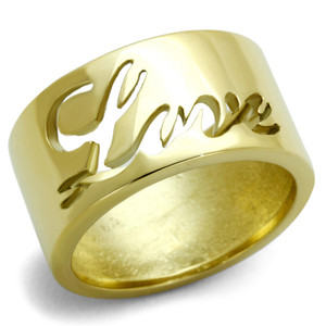 GOLD PLATED STAINLESS STEEL 316, 11mm WIDE LOVE WEDDING BAND RING SIZES 5-10