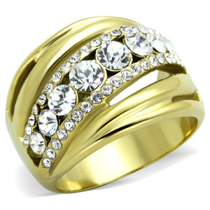 GOLD PLATED STAINLESS STEEL TOP GRADE CRYSTAL ANNIVERSARY RING WOMEN'S SZ 5-10