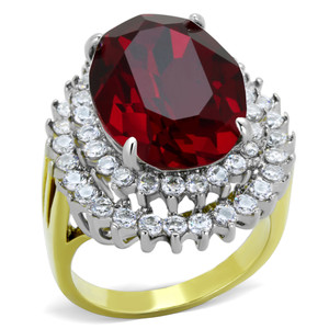 14.5CT SIAM RED OVAL CRYSTAL TWO TONED STAINLESS STEEL 316 COCKTAIL RING SZ 5-10