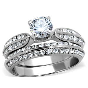 1.75 CT ROUND CUBIC ZIRCONIA STAINLESS STEEL 316L WEDDING RING BAND SET SZ 5-10
