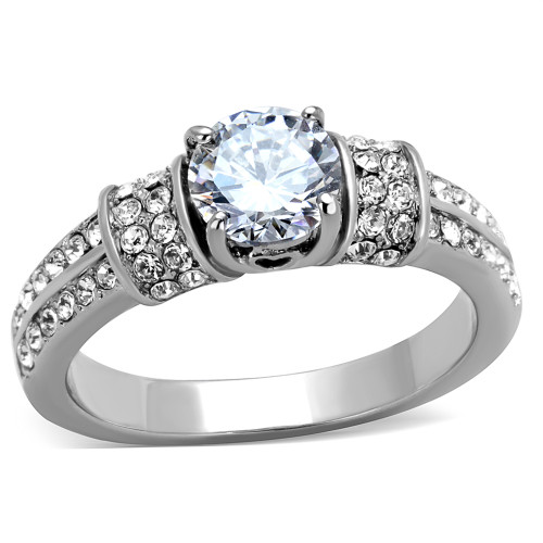 ARTK1921 Stainless Steel 1.32 Ct Round Cut Cubic Zirconia Engagement Ring  Womens Size 5 10
