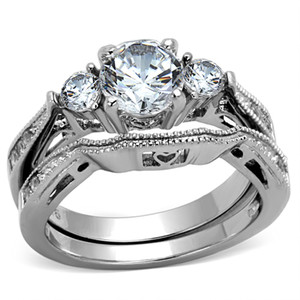 2.50 CT CUBIC ZIRCONIA STAINLESS STEEL 316L WEDDING RING SET WOMEN'S SIZES 5-10
