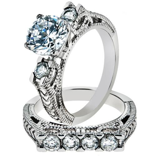 ARTK5X019 Stainless Steel 316 2.95 Ct Round Cut Zirconia Vintage Wedding  Ring Set Sz 5 10