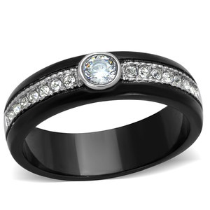 Two Toned Black Ion Plated CZ Stainless Steel Engagement Ring Women's Size 5-10