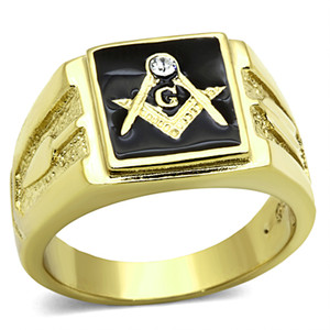 Men's Stainless Steel 14k Gold I.P. Crystal Masonic Lodge Freemason Ring Sz 8-13