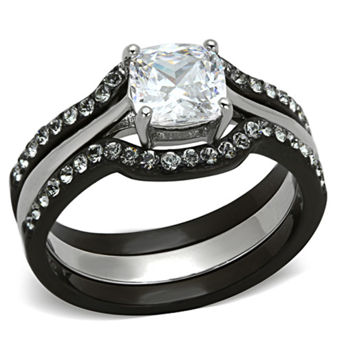 1.85 CT CUSHION CUT CZ BLACK STAINLESS STEEL WEDDING RING SET WOMEN'S SIZE 5-10