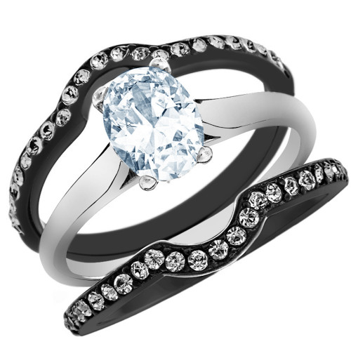 ARTK1344 Stainless Steel 2.15 Ct Oval Cut CZ Black Wedding Ring Set Womenu0027s  Size 5 10