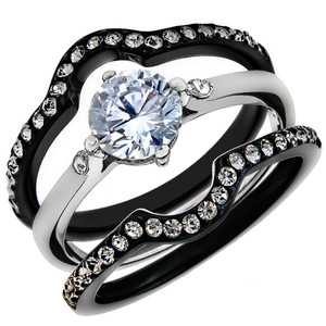 1.90 Ct Round Cut CZ Black Wedding Ring Set Women's Size 5-10