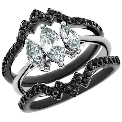 artk1347 stainless steel 225 ct marquise cut cz black wedding ring set womens size 5 10 - Black Wedding Ring Set