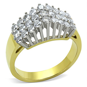 TWO TONE I.P. STAINLESS STEEL 316 CUBIC ZIRCONIA COCKTAIL FASHION RING SIZE 5-10