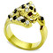 14K GOLD PLATED STAINLESS STEEL MULTI-COLOR CRYSTAL COCKTAIL TIGER RING SZ 5-10