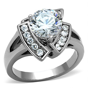 3.1 CT ROUND CUT ZIRCONIA HIGH POLISHED STAINLESS STEEL ENGAGEMENT RING SZ 5-10