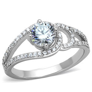 1.25 CT ROUND CUT ZIRCONIA HIGH POLISHED STAINLESS STEEL ENGAGEMENT RING SZ 5-10