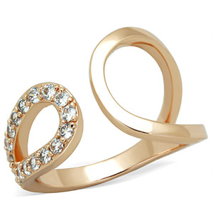 STAINLESS STEEL ROSE GOLD PLATED .48 CT CRYSTAL FASHION RING WOMEN'S SIZE 5-10