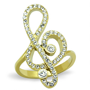 14K Gold Plated Stainless Steel Crystal Musical Note Fashion Ring Womens Sz 5-10
