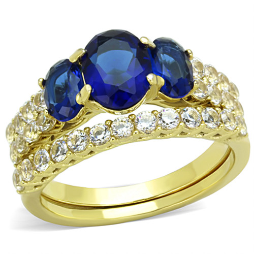 artk1720 womens oval cut blue montana aaa cz 14k gold plated wedding ring set size 5 10 - Blue Wedding Ring Set