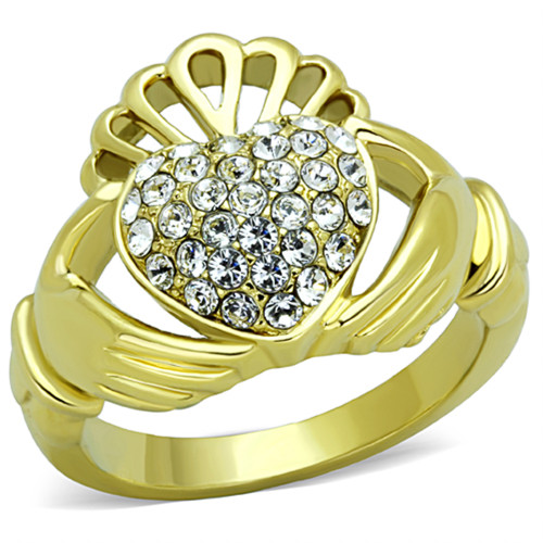 1.02Ct Crystal 14K Gold Plated Stainless Steel Irish Claddagh Ring Women Sz 5-10