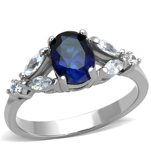 1.67 CT OVAL CUT BLUE MONTANA CZ STAINLESS STEEL ENGAGEMENT RING WOMEN'S SZ 5-10