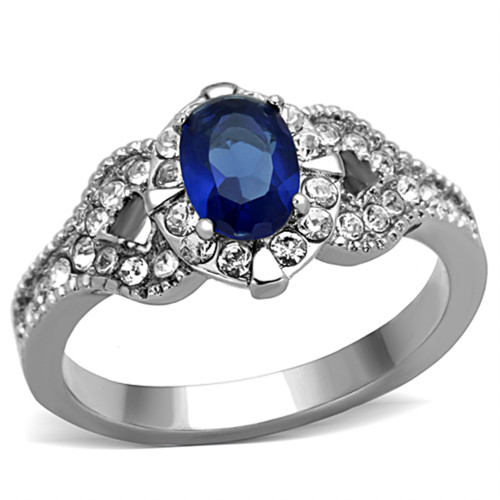 1.45 CT BLUE MONTANA CZ VINTAGE STAINLESS STEEL ENGAGEMENT RING WOMEN'S SZ 5-10