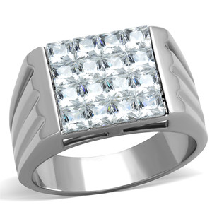 MEN'S 2.88 CT PRINCESS CUT SIMULATED DIAMOND SILVER STAINLESS STEEL RING SZ 8-13