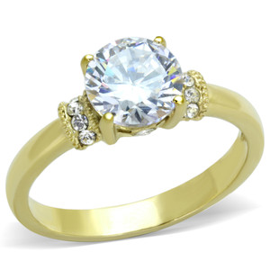 1.33CT CZ STAINLESS STEEL 14K GOLD ION PLATED ENGAGEMENT RING WOMEN'S SIZE 5-10