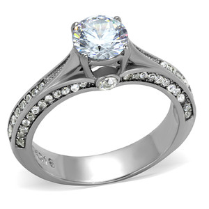 1.22CT ROUND CUT ZIRCONIA STAINLESS STEEL ENGAGEMENT WEDDING RING WOMENS SZ 5-10
