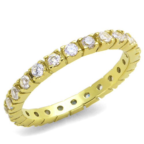 Women's Round Cut 14k GP AAA CZ Eternity Anniversary Wedding Ring Band Size 5-10