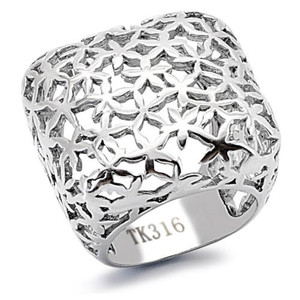HIGH POLISHED 25mm WIDE SQUARE STAINLESS STEEL 316 FASHION RING WOMEN'S SZ 5-10