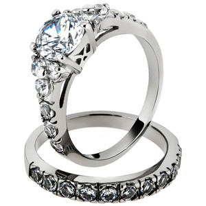 STAINLESS STEEL 316L GLITTER 8MM WIDE ANNIVERSARY WEDDING BAND RING SIZES 5-10
