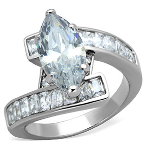 4.4CT MARQUISE & EMERALD CUT CUBIC ZIRCONIA STAINLESS STEEL ENGAGEMENT RING SIZE 5-10
