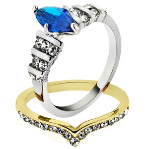 316 TWO TONED STAINLESS STEEL 316 BLUE MARQUISE GLASS 2PC WEDDING RING SET SIZE 5-10