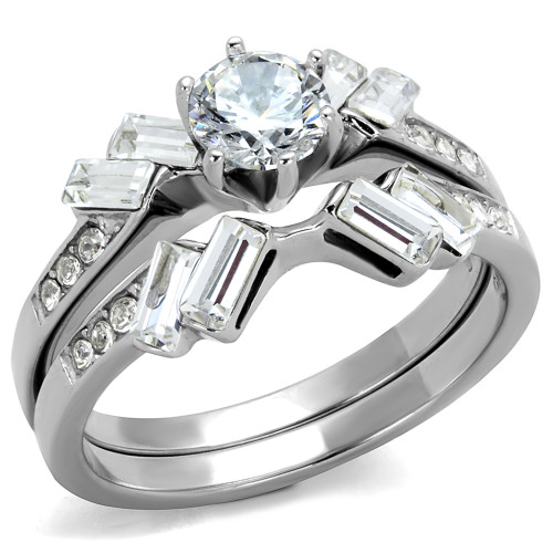 1.65 CT ROUND & BAGUETTE CUT CZ STAINLESS STEEL WEDDING RING SET WOMEN'S SIZE 5-10
