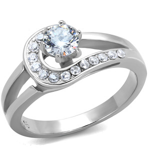 .56 CT ROUND CUT ZIRCONIA HIGH POLISHED STAINLESS STEEL ENGAGEMENT RING SZ 5-10