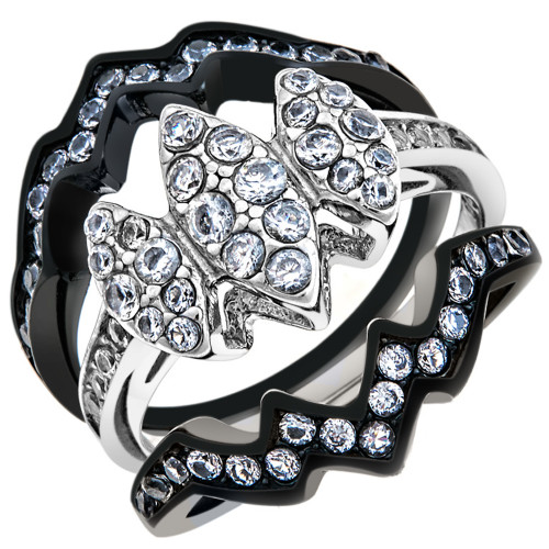 ARTK1869 Stainless Steel 1.95 CT Round Cut CZ Black Wedding Ring Set Womenu0027s  Size 5 10