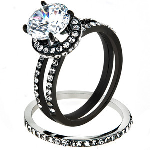 3.45 CT Halo Round Cut CZ Black Stainless Steel Wedding Ring Set Women's Size 5-10