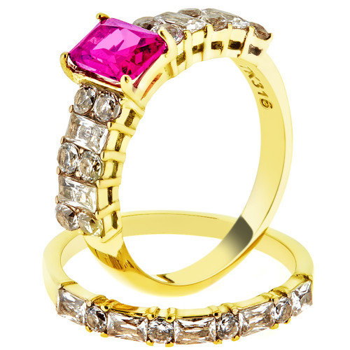 2.64 Ct Emerald Cut Ruby CZ 14k Gold Plated Wedding Ring Set Women's Size 5-10