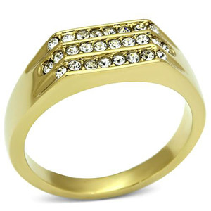 Men's 14K Gold Ion Plated .26 CT Simulated Diamond Ring Size 8-13
